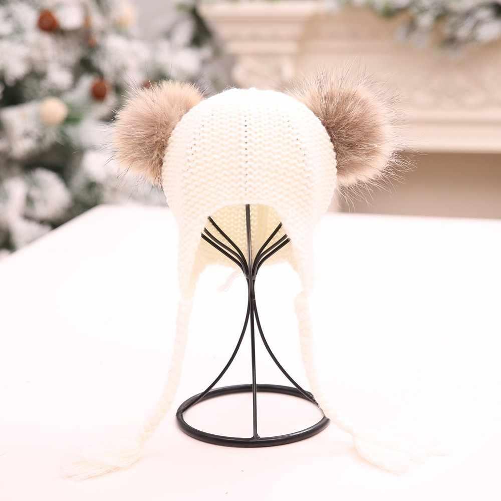 เด็ก Baggy ถักโครเชต์หมวกหมวกเด็กฤดูหนาวถักหมวกสกี Slouchy Twist หมวกฤดูหนาว WARM Earmuff หมวก Bonnet Enfant