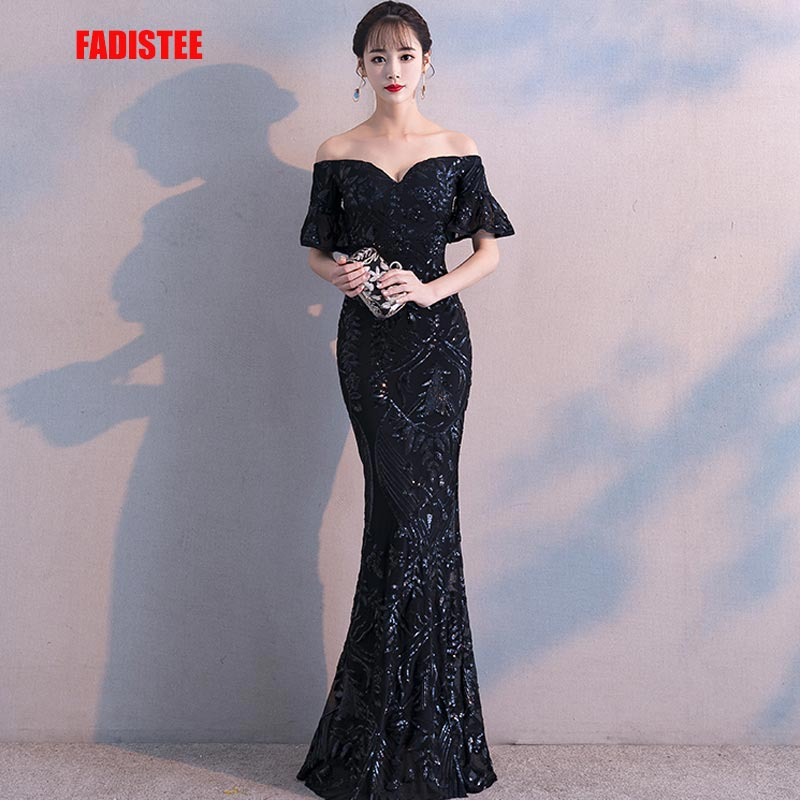 FADISTEE New arrival elegant party   dresses     evening     dress   Vestido de Festa luxury black sequins short sleeves prom lace style