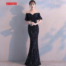 Fadistee nova chegada elegante vestidos de festa vestido de noite vestido de festa luxo preto lantejoulas mangas curtas estilo do laço do baile