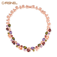 Fashion Multicolor Round Necklaces For Women 18k Gold Plated CZ Cubic Zircon Women Clothing Accessories Wholesale