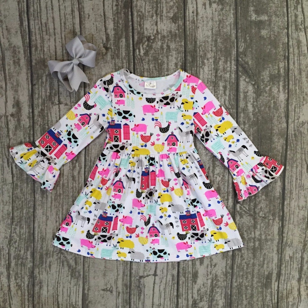 купить baby girls fall dress clothing childrenfarm girls dress kids children Fall dress girls boutique Fall dress clothing with bows недорого