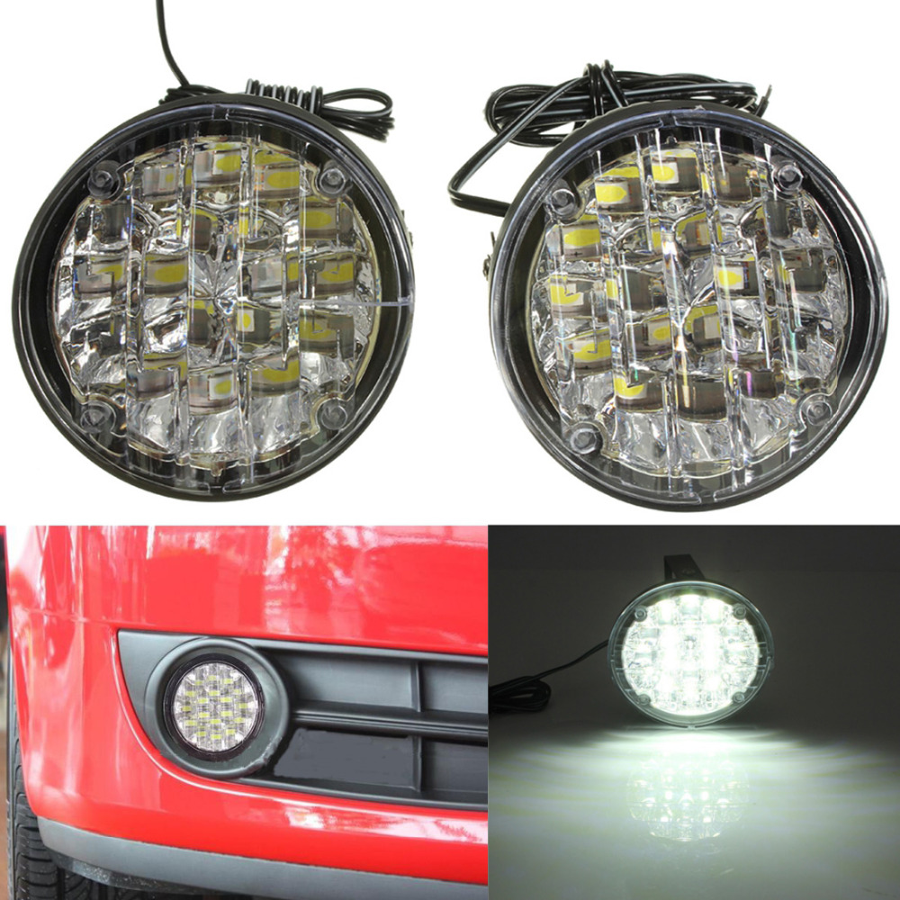 Hot One Pair 12V 18 LEDs White Light Round Car Daytime Running Light LED Fog Lamp DRL Lamps