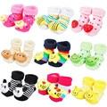 3D Anti Slip bebé recién nacido 0-6 meses de algodón encantadores zapatos lindos Animal de la historieta zapatillas botas niño niña Unisex calcetines del cabrito 3 pares