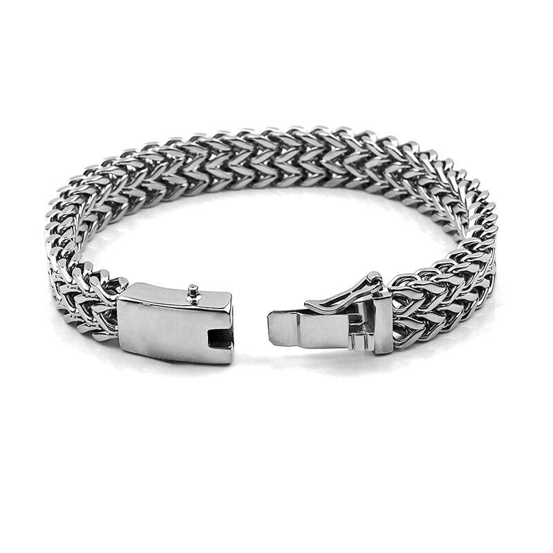 Mode 316L Edelstahl Armband Mens Custom Armbänder Armreifen 12mm Breite Armband Hand Kette Schmuck Geschenk 014