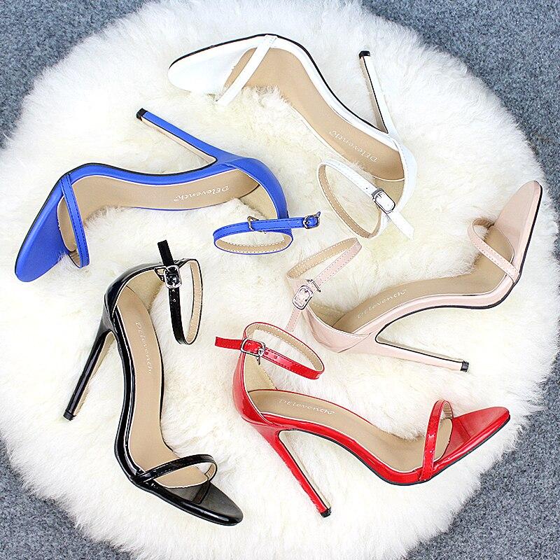 HTB1zTY.Kb1YBuNjSszeq6yblFXam DEleventh Classics Sexy Women Red Wedding Shoes Peep Toe Stiletto High Heels Shoes Woman Sandals Black Red Nude Big Size 43 US10