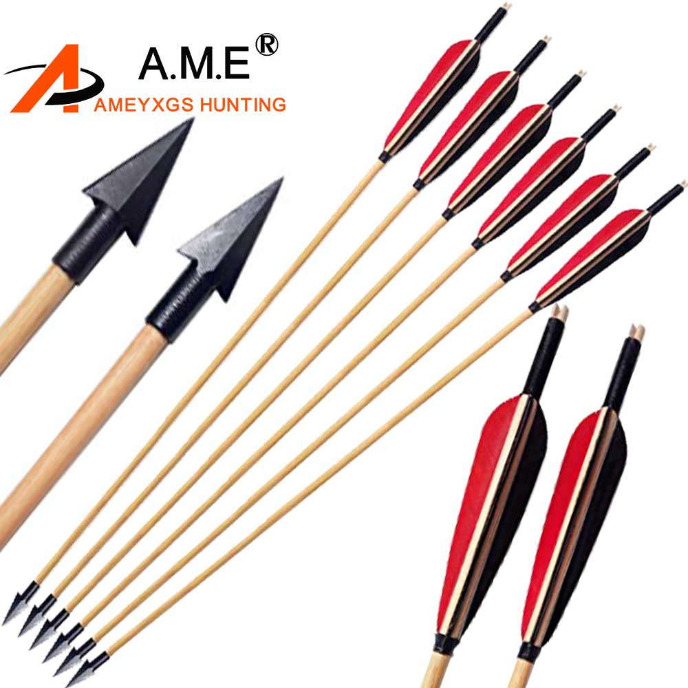 Handmade 32/'/' Hunting Wooden Arrows Turkey Feather Recurve Bow for Archery