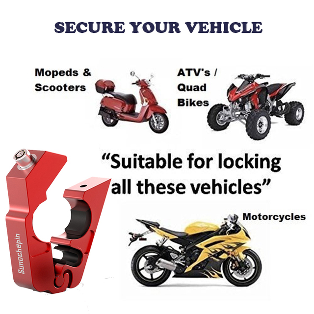 Motorcycle Grip Lock CNC Security Safety Locks Handlebar Handset Brake Lever Disc Locking Fit Scooter ATV Anti-theft Motor Lock 6