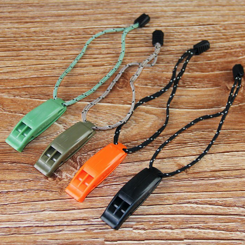 Molle System Dual Band Outdoor Sports Survival Whistle Lifesaving Emergency SOS Whistle Cheerleader Cheer Cheerleading With Rope