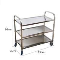 Stainless Steel Thicken Mobile Dining Car Kitchen Stroller Rack Restaurant Collection Bowl Car Collecting Food Truck Wine Cart