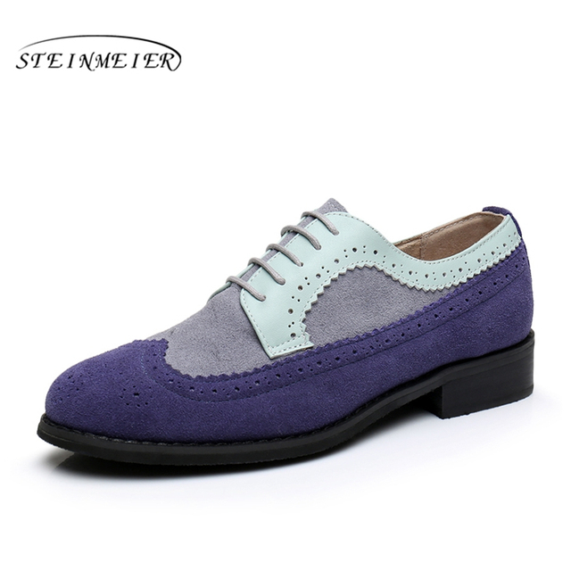 Women genuine leather flat shoes bullock round toe handmade 11 vintage blue 2017 sping oxford shoes for women with fur