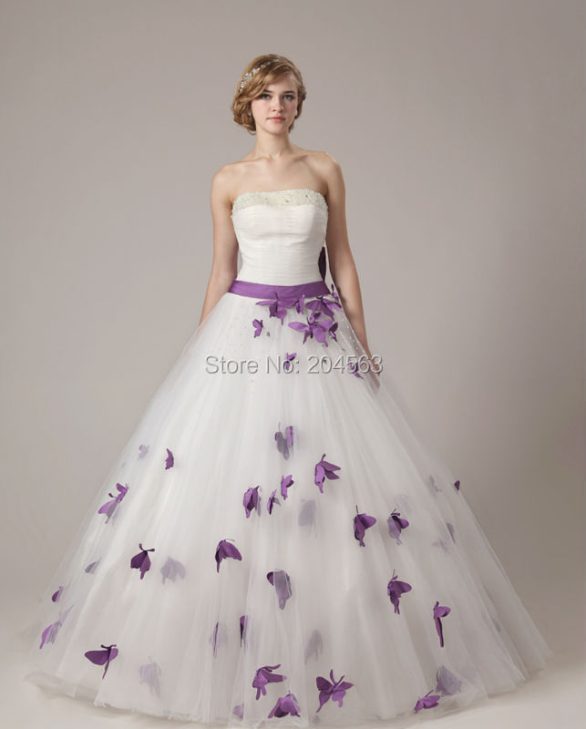 Free Shipping Beaded Strapless Wedding Dress with Purple Butterfly custom size color