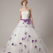 Free Shipping Beaded Strapless Wedding Dress with Purple Butterfly custom size&color
