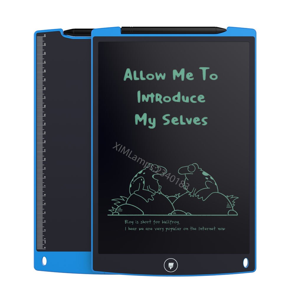 12-Inch LCD Writing Tablet - Drawing board gifts for kids Small Blackboard board Paperless Office (black/Blue/Pink/White)