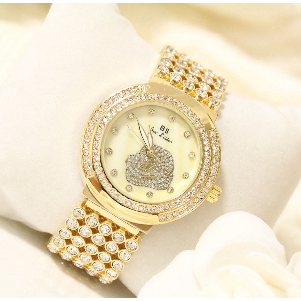 New Arrivals Famous Brand BS Full Diamond Rose Watch Lady Shinning Dress Quartz Watch Bling Crystal Bangle Women Bracelet Watch 2017 new arrivals famous brand full diamond luxury women watch lady dress watch rhinestone bling crystal bangle watches female
