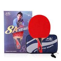 Peixe Duplo originais 8 estrelas 8A esportes de raquete raquetes de tênis de mesa de lâmina de carbono tipo de ataque rápido loop para perto de quebrar jogadores