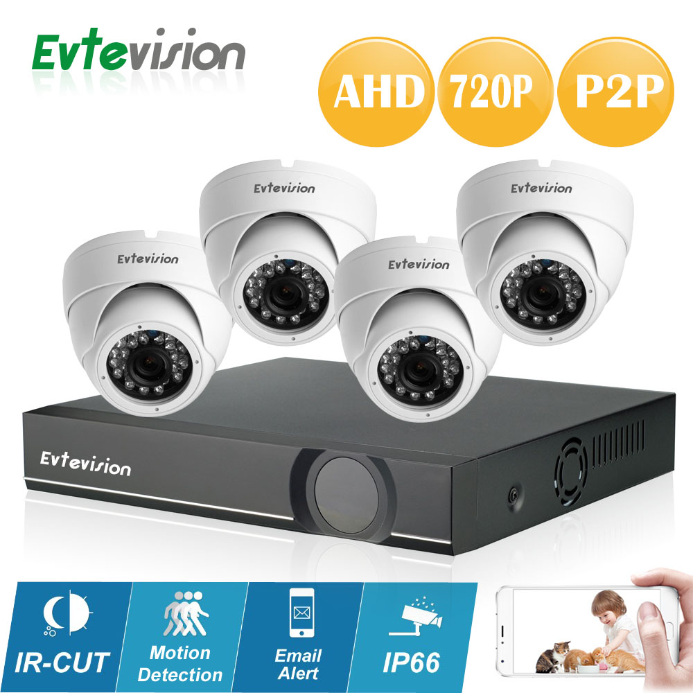 Evtevision 4CH 1MP HD AHD CCTV Camera Dome 720P 24 Leds Day Night Vision Indoor Security