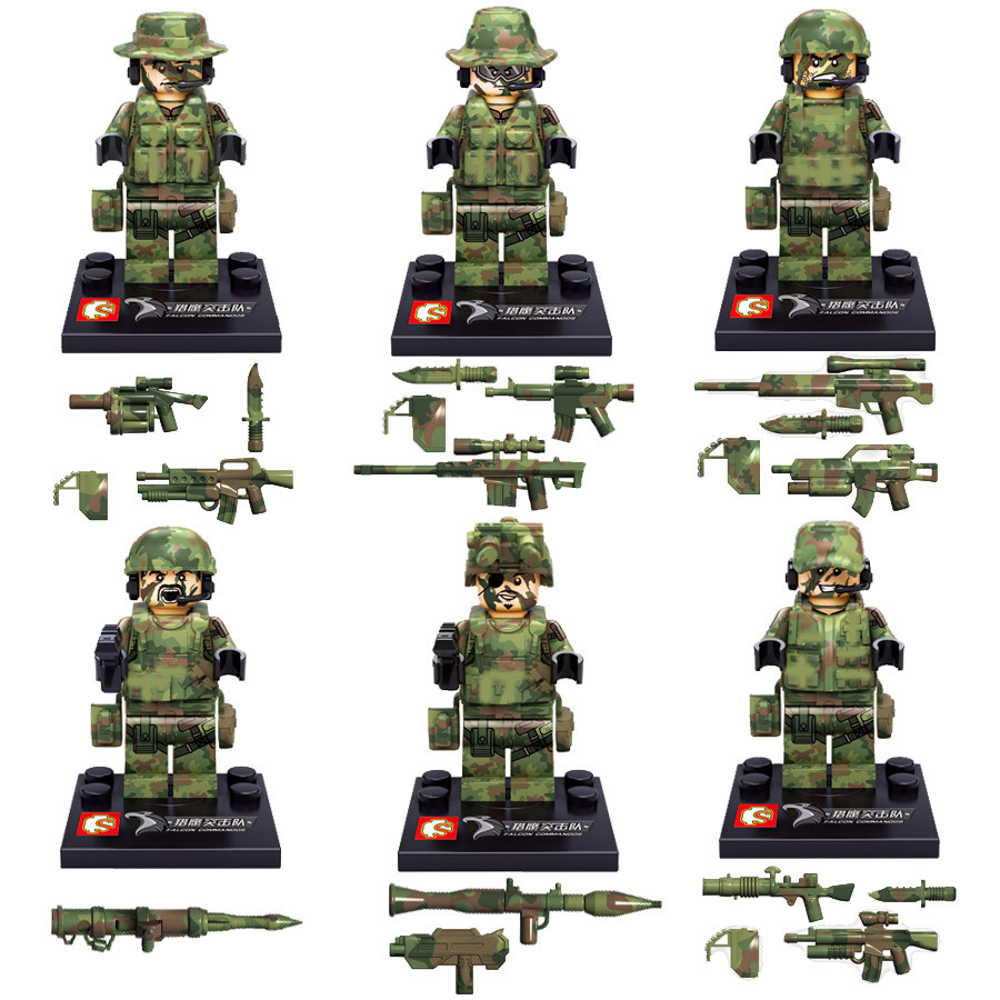 6PCS minifigures military Camouflage soldiers compatible with Legoe small building blocks assembling and military