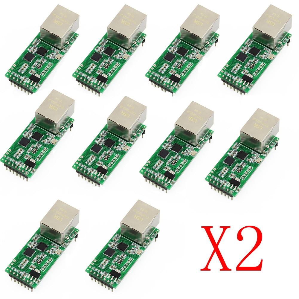 Q18042 20 20PCS USR TCP232 T2 Tiny Serial Ethernet Converter Module Serial UART TTL to Ethernet