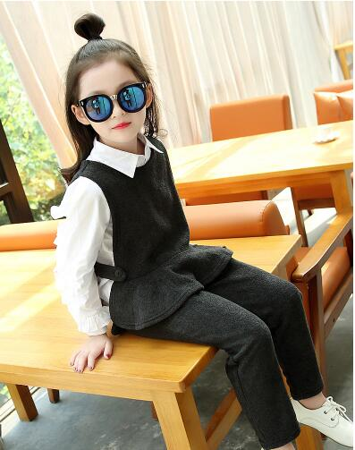 ФОТО Baby girl autumn winter 3 pcs Set New Fashion Baby Girls Sets T-shirt + Fleece Vest + Fleece Pant Kids Clothing Sets