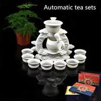 Free Shipping Creative Automatic tea set ,Jingdezhen Cyan flower Porcelain tea pot cup pu'er Chinese Kung Fu Living Room tea set
