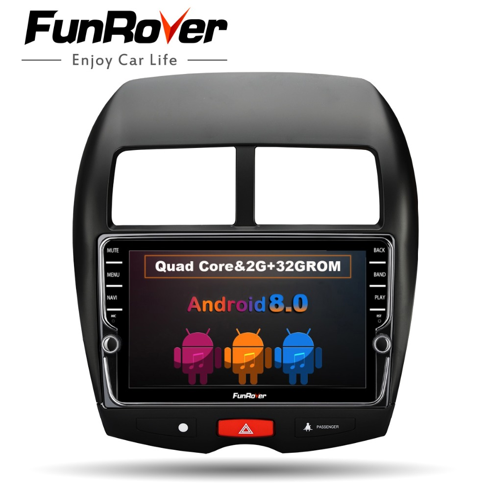 Funrover unique 9Android 8.0 2 din Car multimedia DVD player GPS navigation stereo navi for MITSUBISHI ASX Peugeot 4008 Citroen