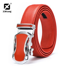 XHTANG Fashion Design Leather Belt Men 2017 Casual Car Shaped Automatic Buckle Belt Red Belt for Jeans Top Brand Male Waistband