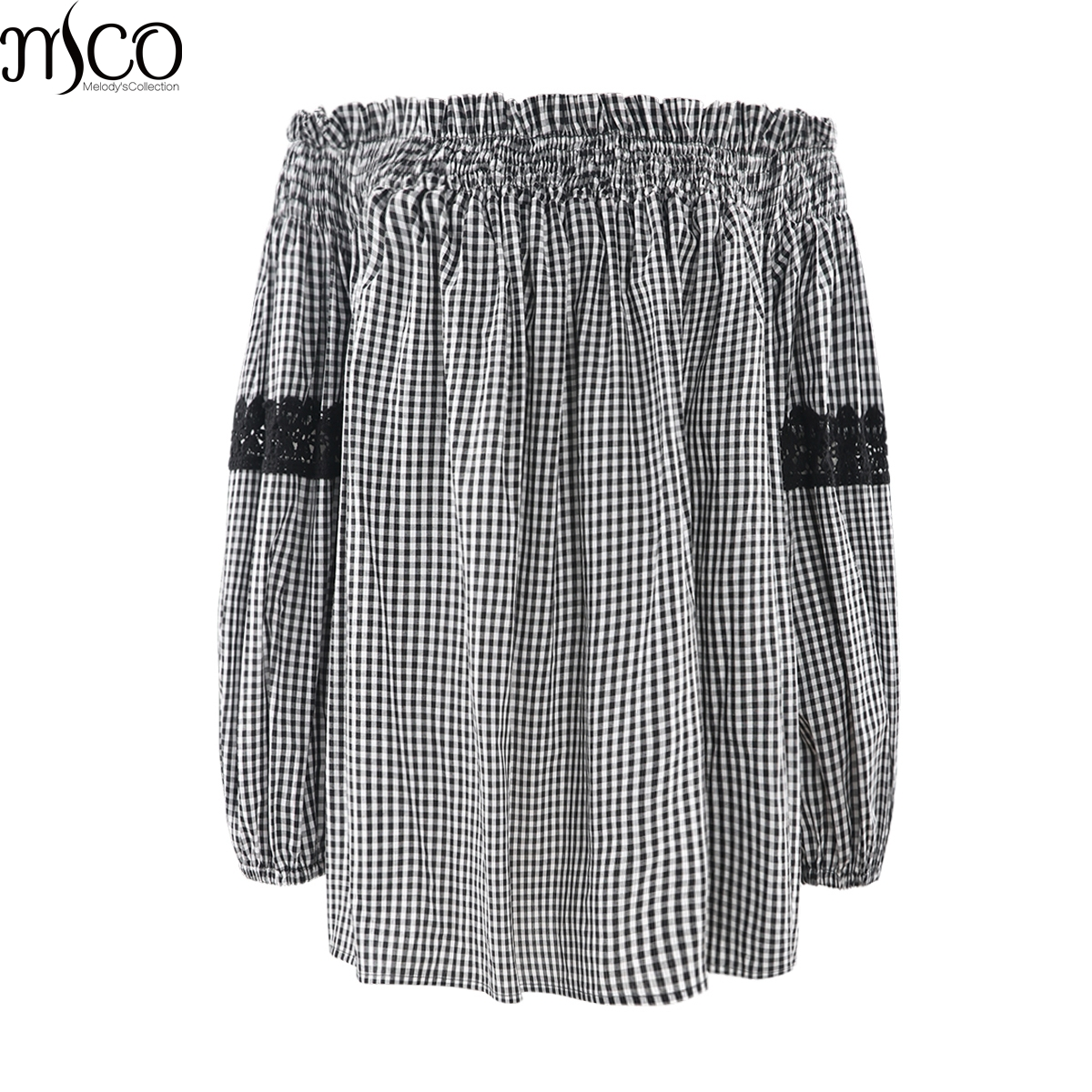 MCO 2018 Sexy Off Shoulder Plus Size Plaid Top Casual Lace Oversized Gingham Bardot Blouse Basic Big Women Clothing 5xl 6xl 7xl