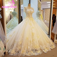 2017 New Arrival Model Crystal Lace Appliques Wedding Dresses 100 Real Photos Scoop Neck Illusion Sheer
