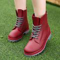 Women Boots Ladies Martins 2017 British Dr Martins Vintage Shoes Women Rain Boots Female Thick Heel Spring Plush Round Toe 2017