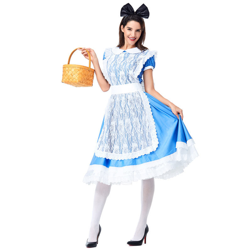 Halloween Costume for Woman New Design Alice COS Fairy Tale Mickey Blue Maid Dressed in Wonderland Uniform
