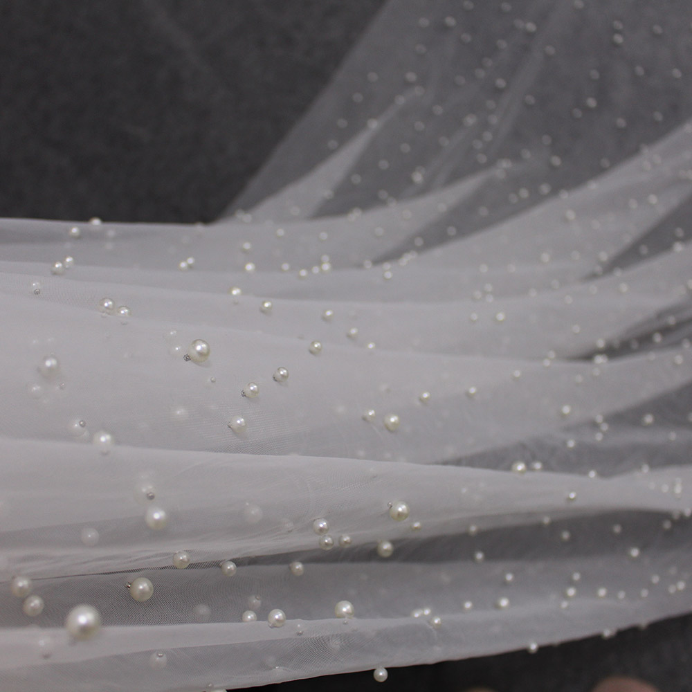 Hot DealsPearl Veil Bride-Accessories Cathedral Ivory Long White One-Layer 3-Meters 3M with Beautiful