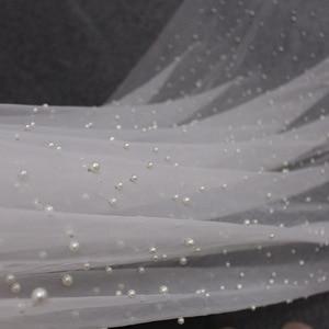 Image 3 - Véu de noiva longo com pérolas, véu de noiva com 3 m, varal catedral, 3 metros branco, marfim, véu de casamento com pérolas acessórios