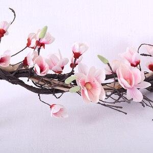 Image 4 - Свадебное украшение из магнолии, цветочный настенный венок с искусственными листьями, гирлянда