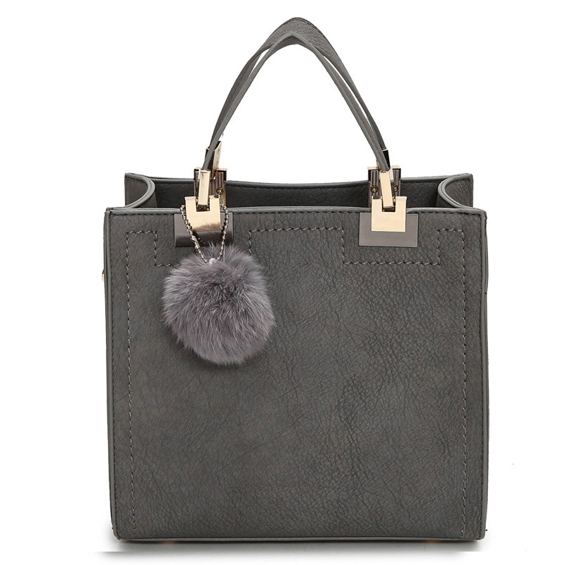 Heißer verkauf handtasche frauen casual tote tasche weiblichen große schulter messenger bags hohe qualität pu-leder handtasche mit fellknäuel bolsa