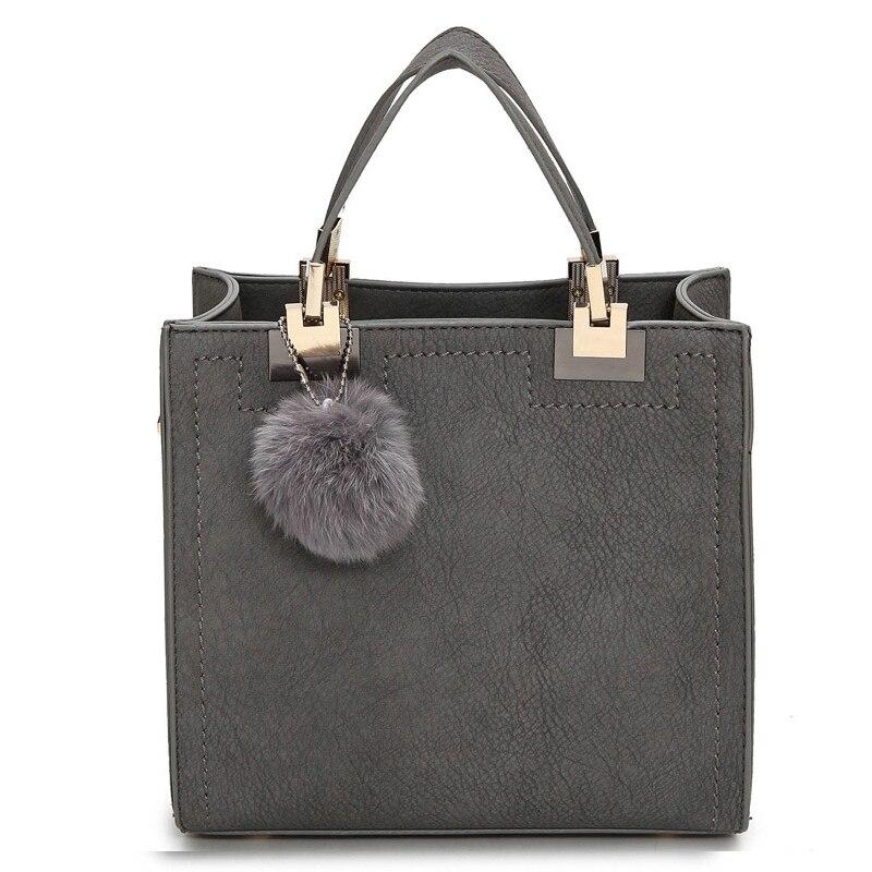 Heißer verkauf handtasche frauen casual tote tasche weiblichen große schulter messenger taschen hohe qualität PU leder handtasche mit pelz ball bolsa