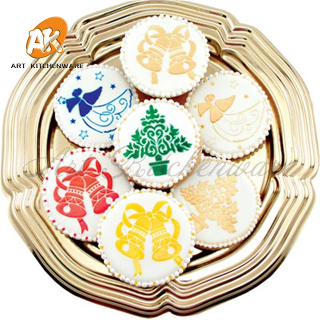 Us 1 68 40 Off Mini Christmas Stencil Cookie Tops Stencil Cake Tools Christmas Decoration Supplies Cookie Cake Stencil Decoration Tool St 514 In