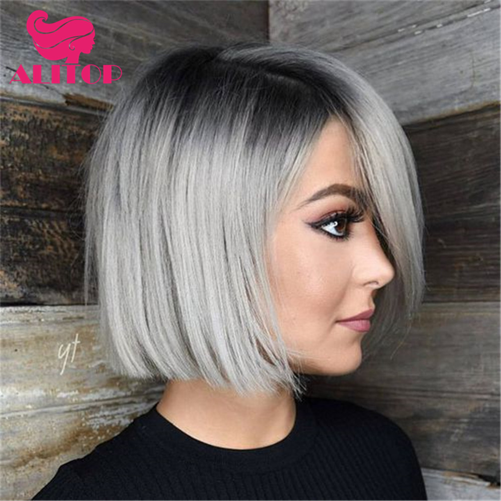 ALITOP 13x4 Bob Wig 1B Grey Ombre Straight Lace Front Human Hair Wigs Pre Plucked Short Brazilian Remy Hair Wig парики