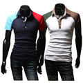 New summer men's short-sleeved polo shirt lapel spell color breathable cotton casual POLO shirt Air Force One size 2xl