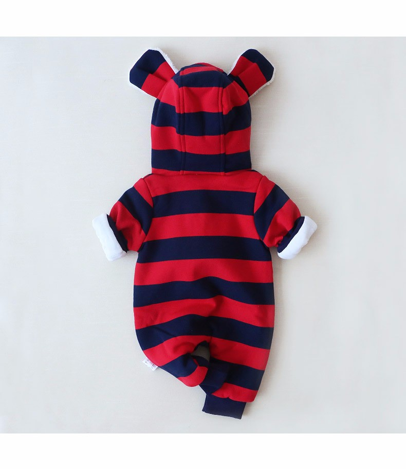 Baby girls boys winter striped rompers (2)