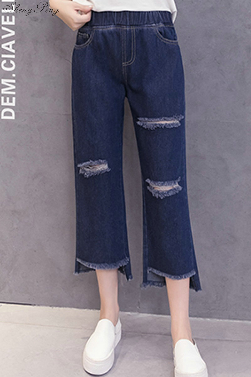 Women ripped pant ripped jeans for women wide leg denim pants women summer pants ankle length ripped jeans CC671 6