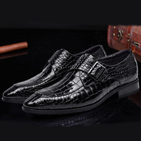 Men S Genuine Leather Dress Shoes Autumn European Fashion High Quality Crocodile Pattern Wine Red Blue