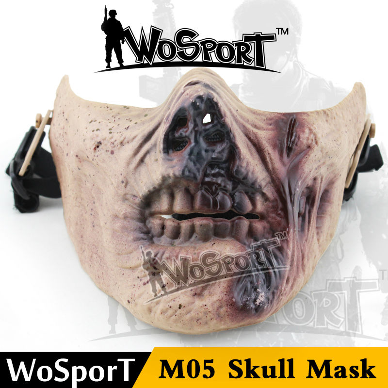 WoSporT CS Paintball Airsoft Plastic Mask Half Face Scary Undead Zombie Mask DIY Halloween Party Skull Mask M05 Tactical Mask