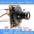 """2.0MP 1920*1080 AHD 1080 P Módulo de Câmera de vigilância, 1/2.7 """"CMOS NVP2441H + OV2710 3MP Lente de 8mm CCTV câmeras ODS linha do menu"""