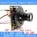"2.0MP 1920 * 1080 AHD 1080P surveillance Camera Module, 1 / 2.7 ""CMOS NVP2441H + OV2710 3MP 8mm Lens CCTV cameras ODS menu line"