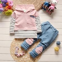 DIIMUU Fashion Kids Boys Girls Clothing Casual Cotton Hooded Outfits Coats Striped T-Shirts Pants 3pcs Sets