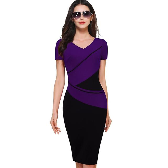 Vintage Elegant ColorBlock Patchwork V-Neck Bodycon Women Office Wear to  Work Plus Size Business Dress B384