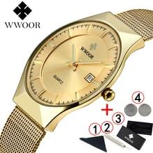 Relogio masculino WWOOR זהב שעון גברים קלאסיים דקים במיוחד זכר עסקי שעון זהב Mens שעונים למעלה מותג יוקרה 2019
