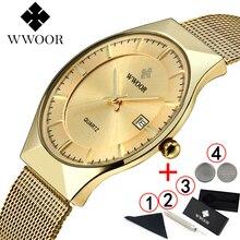 Часы WWOOR мужские наручные ультратонкие, Классические деловые золотистые брендовые люксовые, золотистые, 2019