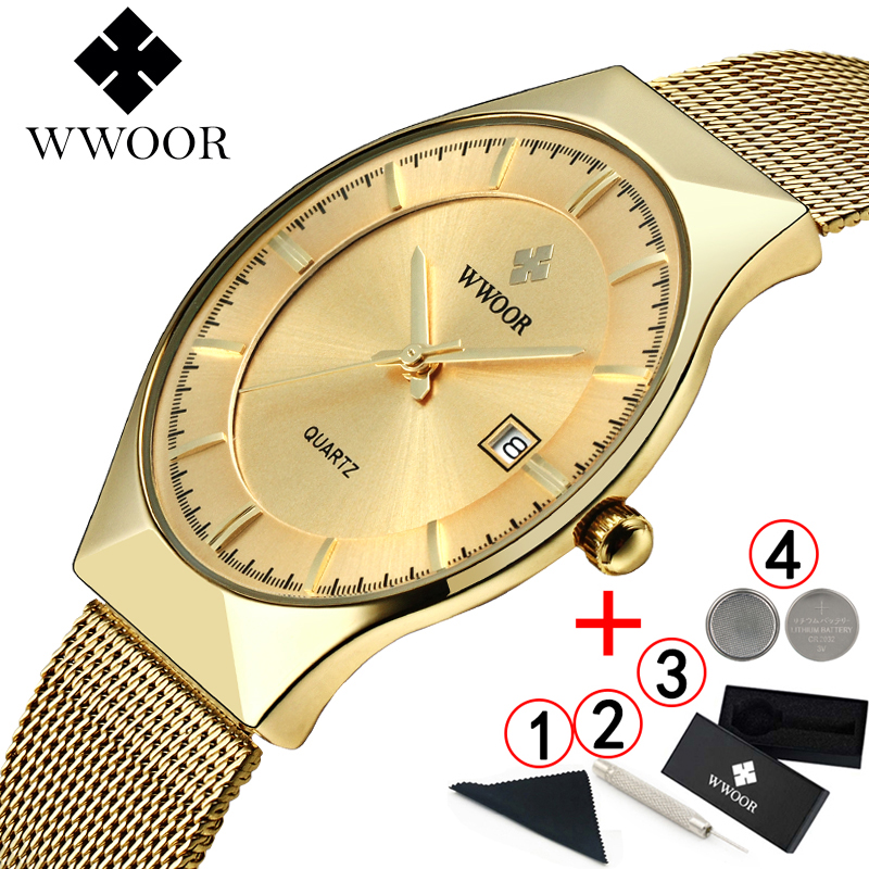 relogio masculino WWOOR  Gold Watch Men Ultra Thin Classic Male Wristwatch Business Golden Mens Watches Top Brand Luxury 2019-in Quartz Watches from Watches