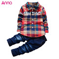 2016 New arrival boys suit shirt +pants 2pcs/set Jeans plaid cardigan jacket gentleman suit Denim kids clothes set free shipping